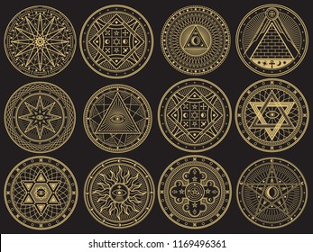 Golden mystery, witchcraft, occult, alchemy, mystical esoteric symbols. Witchcraft mystery emblem collection, magic religion tattoo. illustration