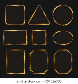 Golden neon shiny electric rectangle borders. Glisten round and oval banners. Frame round and rectangle, illustration of square and oval frame