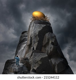 Golden nest egg concept as a retirement plan metaphor as a man standing at the bottom of a cliff thinking of a strategy to achieve his challenging financial investment goal.