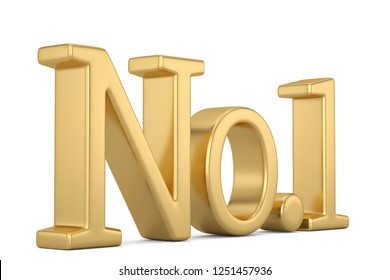 Golden no 1 text isolated on white background 3D illustration.