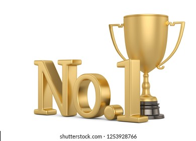 Golden no 1 text with trophy isolated on white background 3D illustration.