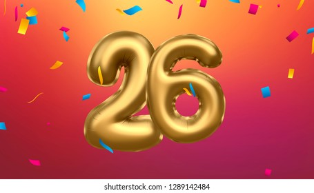 Golden number  26   metallic balloon. Party decoration golden balloons. Anniversary sign for happy holiday, celebration, birthday, carnival, new year. 3D illustration