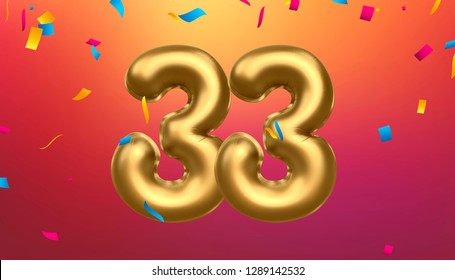 Golden number   33  metallic balloon. Party decoration golden balloons. Anniversary sign for happy holiday, celebration, birthday, carnival, new year. 3D illustration