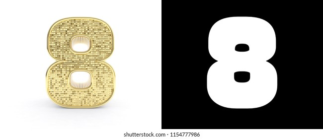 Golden number eight (number 8) on white background with drop shadow and alpha channel. 3D illustration.