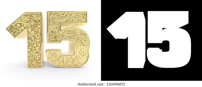 Golden number fifteen (number 15) on white background with drop shadow and alpha channel. 3D illustration.