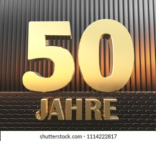"""Golden number fifty (number 50) and the word """"years"""" against the background of metal rectangular parallelepipeds in the rays of sunset.  Translated from the German - years. 3D illustration."""