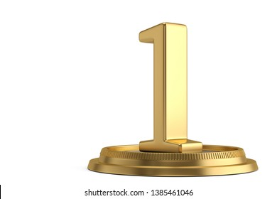Golden number one with base isolated on white background. 3D illustration.