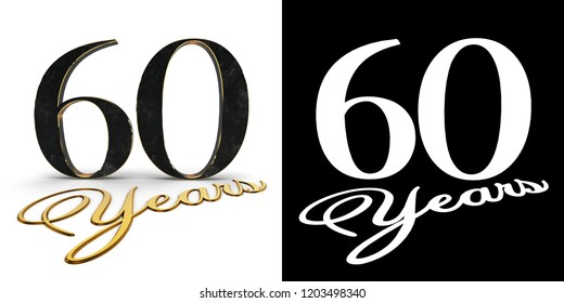 Golden number sixty (number 60) and the inscription years with drop shadow and alpha channel. 3D illustration.