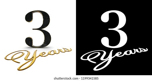Golden number three (number 3) and the inscription years with drop shadow and alpha channel. 3D illustration.