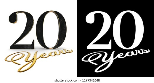 Golden number twenty (number 20) and the inscription years with drop shadow and alpha channel. 3D illustration.