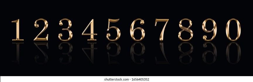 Golden numbers 1,2,3,4,5,6,7,8,9,9 on a black background
