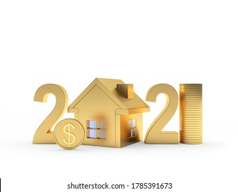Golden numbers 2021 with house icon and dollar coins isolated on white background. 3D illustration