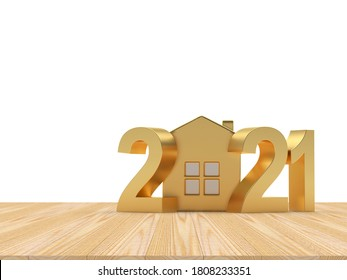 Golden numbers 2021 and house icon on wooden floor on white background. 3d illustration