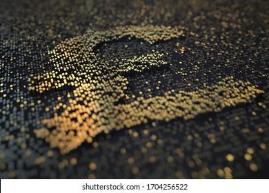 Golden numbers bars compose GBP pound sterling symbol on black background. 3D rendering