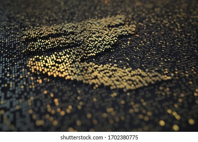 Golden numbers bars compose INR rupee symbol on black background. 3D rendering