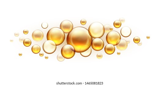 Golden oil bubbles. Cosmetic collagen serum, castor argan jojoba essence  realistic template isolated on white background. Vitamins almond with fish oil drops for skin and hair