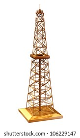 Golden oil rig - isolated on white