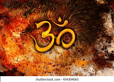 golden om symbol emanating light, illustration on abstract background