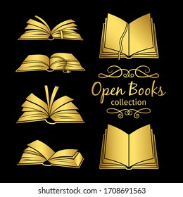 Golden open books icons isolated on black background