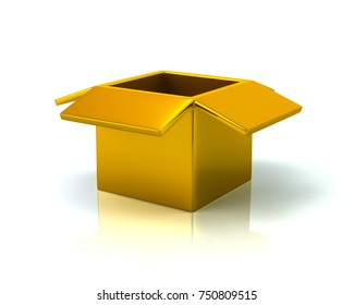 Golden open box 3d illustration on white background