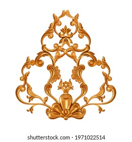 Golden openwork relief, stucco molding, curls, decorative ornament, arabesque element, classic architectural detail, 3D rendering, isolated