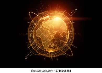 Golden, orange hologram of the planet earth made of dots isolated on a black background. Globalization, network, fast internet. Copy space, 3D rendering 3D illustrations