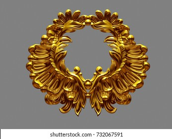 goldenes Zieremblem, 3D-Illustration