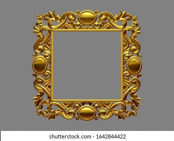 golden, ornamental frame, 3d illustration