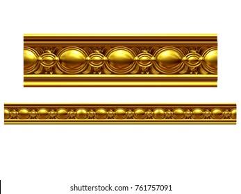 """golden, ornamental segment, """"ball"""", straight version for frieze, frame or border. 3d illustration, separated on white"""