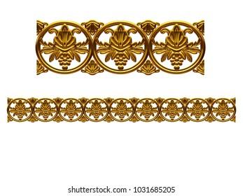 """golden, ornamental segment, """"balls"""", straight version for frieze, frame or border. 3d illustration, separated on white"""