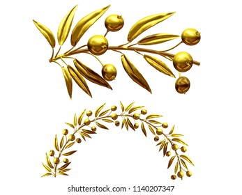 """golden ornamental segment, """"berry"""", round version, fourty-five degree angle, for corner or circle, 3d Illustration, separated on white"""