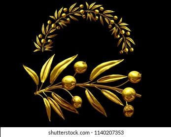 """golden ornamental segment, """"berry"""", round version, fourty-five degree angle, for corner or circle, 3d Illustration, separated on black"""