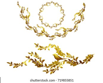 """golden ornamental segment, """"bird"""", round convex version for fourty five degree angle corners or frames. 3D illustration, separated on white"""