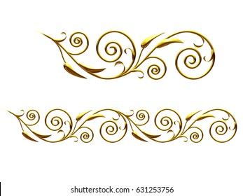 "golden, ornamental segment, ""branch"", straight version for frieze, frame or border. 3d illustration, separated on white"