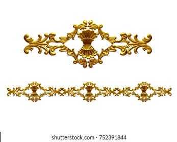 "golden, ornamental segment, ""bunch"", straight version for frieze, frame or border. 3d illustration, separated on white"