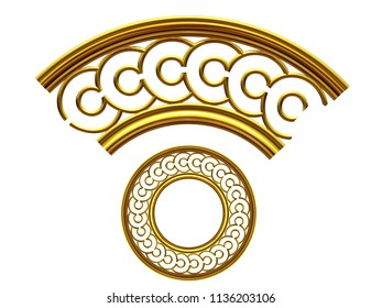"""golden ornamental segment, """"button"""", round version, ninety degree angle, for corner or circle, 3d Illustration, separated on white"""