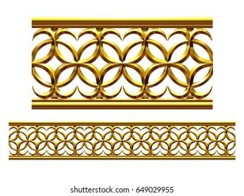 "golden, ornamental segment, ""caro"", straight version for frieze, frame or border. 3d illustration, separated on white"