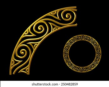 golden ornamental segment for a circle or a corner. This ninety degree angle complements my items for a frieze, border or frame. See Set: Decorative Ornaments, in my Portfolio: Ornament 62