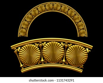 """golden ornamental segment, """"cookies"""", round version, fourty-five degree angle, for corner or circle, 3d Illustration, separated on black"""