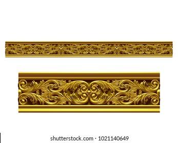 "golden, ornamental segment, ""double"", straight version for frieze, frame or border. 3d illustration, separated on white"