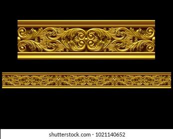"golden, ornamental segment, ""double"", straight version for frieze, frame or border. 3d illustration, separated on black"