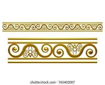 "golden, ornamental segment, ""dual"", straight version for frieze, frame or border. 3d illustration, separated on white"