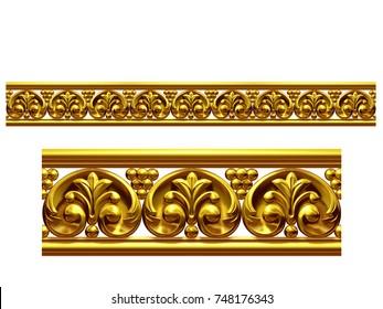 "golden, ornamental segment, ""final"", straight version for frieze, frame or border. 3d illustration, separated on white"