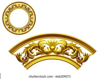 "golden ornamental segment, ""flow"", round version for ninety degree angle for corners or frames. 3D illustration, separated on white"