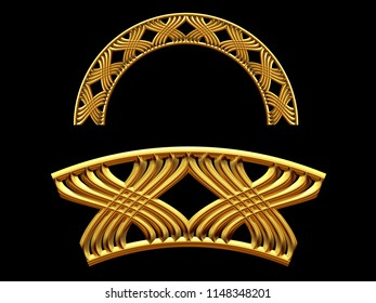 """golden ornamental segment, """"X form"""", round version, fourty-five degree angle, for corner or circle, 3d Illustration, separated on black"""