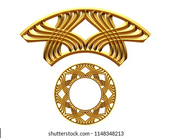 """golden ornamental segment, """"X form"""", round version, ninety degree angle, for corner or circle, 3d Illustration, separated on white"""