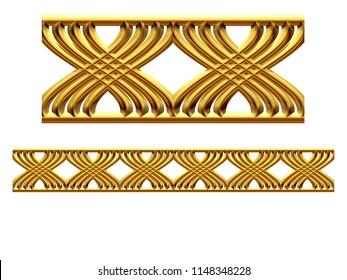 "golden, ornamental segment, ""X form"", straight version for frieze, frame or border. 3d illustration, separated on white"