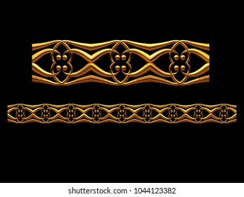 "golden, ornamental segment, ""four"", straight version for frieze, frame or border. 3d illustration, separated on black"