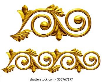 golden ornamental segment for frieze or border
