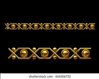 golden, ornamental segment for frieze, frame or border. 3d illustration, separated on black